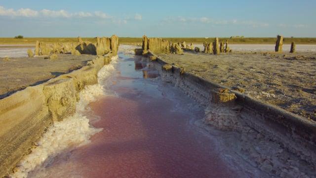 Pink Lake in Ukraine